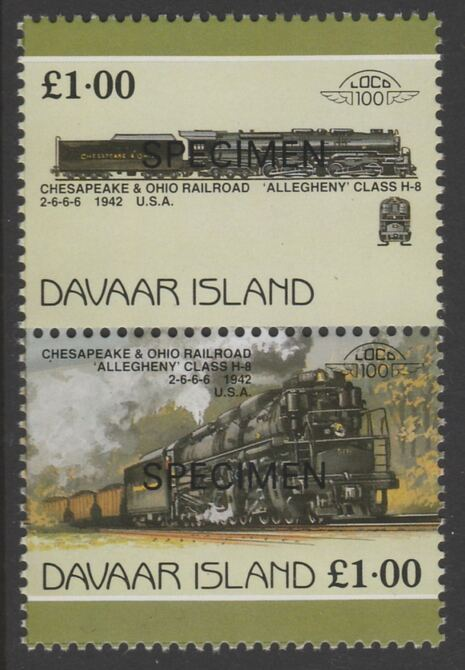 Davaar Island 1983 Locomotives #1 Chesapeake & Ohio Class H8 2-6-6-6 loco \A31 se-tenant pair overprinted SPECIMEN unmounted mint