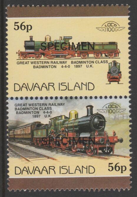 Davaar Island 1983 Locomotives #1 GWR Badminton Class 4-4-0 loco 56p perf se-tenant pair overprinted SPECIMEN unmounted mint