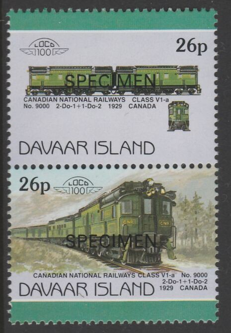 Davaar Island 1983 Locomotives #1 Canadian National Class V1-a loco No.9000 26p se-tenant pair overprinted SPECIMEN unmounted mint