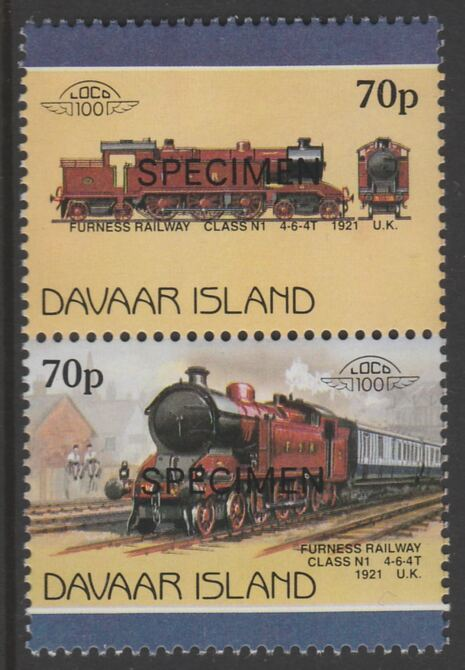 Davaar Island 1983 Locomotives #1 Furness Railway Class N1 4-6-4T loco 70p se-tenant pair overprinted SPECIMEN unmounted mint