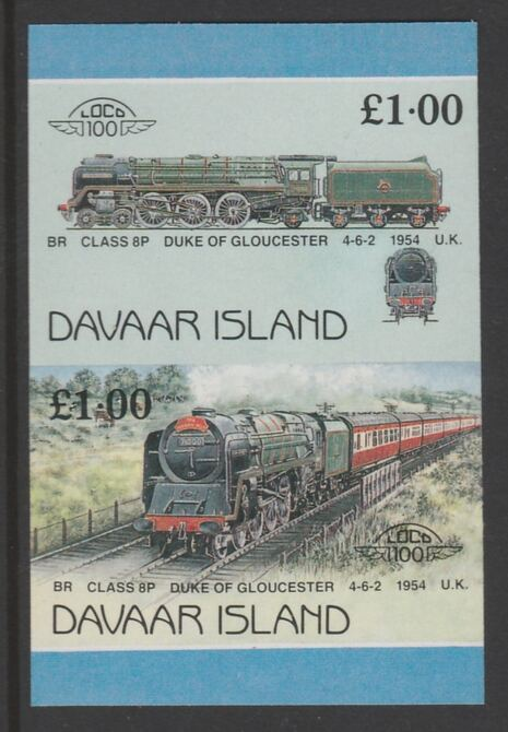Davaar Island 1983 Locomotives #2 Duke of Gloucester 4-6-2 loco \A31 imperf se-tenant pair unmounted mint