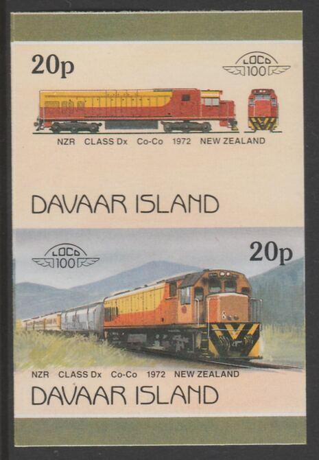 Davaar Island 1983 Locomotives #2 NZR Class Dx Co-Co loco 20p imperf se-tenant pair unmounted mint