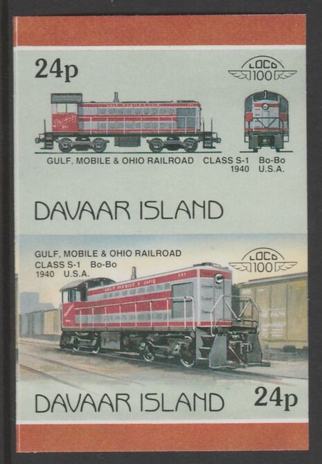 Davaar Island 1983 Locomotives #2 Gulf, Mobile & Ohio Class S-1 loco 24p imperf se-tenant pair unmounted mint