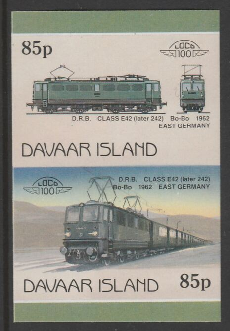 Davaar Island 1983 Locomotives #2 DRB Class E42 Bo-Bo loco 85p imperf se-tenant pair unmounted mint