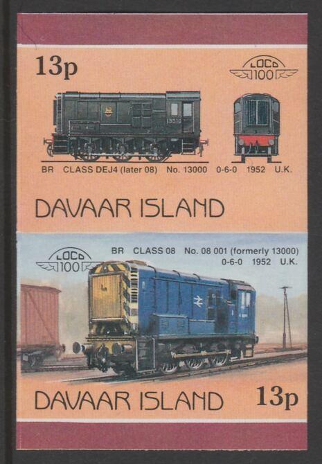 Davaar Island 1983 Locomotives #2 BR Class DEJ4 0-6-0 shunter 13p imperf se-tenant pair unmounted mint