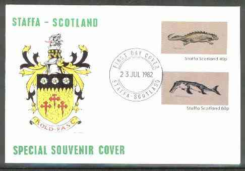 Staffa 1982 Prehistoric Marine Life (Placodus) imperf set of 2 values on cover with first day cancel