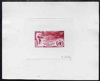 Central African Republic 1964 die proof of World Meteorological Day (SG 56) in red on sunken wove paper, signed by the artist