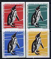 Match Box Labels - Penguin from Portuguese Wildlife set with 4 diff background colours, fine unused condition (4 labels)