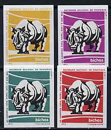 Match Box Labels - Rhino from Portuguese Wildlife set with 4 diff background colours, fine unused condition (4 labels)