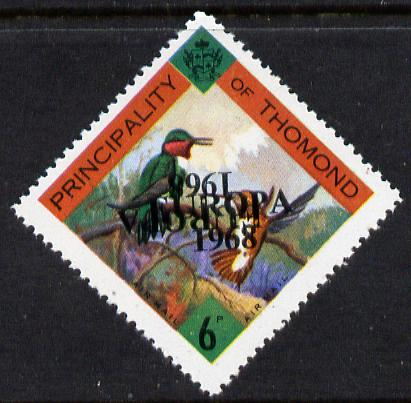 Thomond 1968 Humming Birds 6d (Diamond-shaped) with 'Europa 1968' overprint doubled, one inverted, unmounted mint