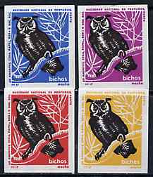 Match Box Labels - Owl (Long Eared) from Portuguese Wildlife set with 4 diff background colours, fine unused condition (4 labels)