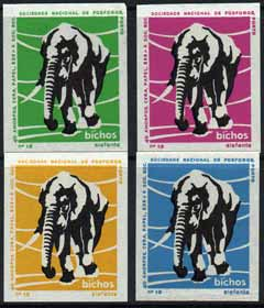 Match Box Labels - Elephant from Portuguese Wildlife set with 4 diff background colours, fine unused condition (4 labels)
