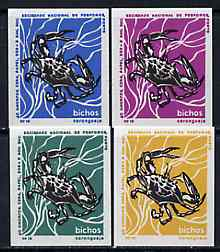 Match Box Labels - Crab from Portuguese Wildlife set with 4 diff background colours, fine unused condition (4 labels)