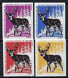 Match Box Labels - Deer from Portuguese Wildlife set with 4 diff background colours, fine unused condition (4 labels)