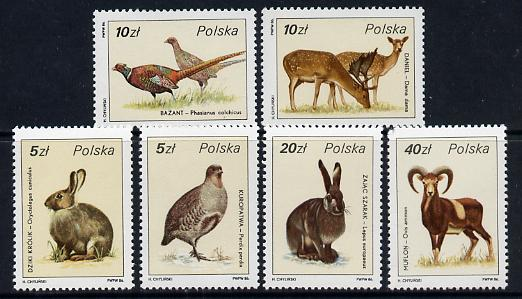 Poland 1986 Game Birds & Animals set of 6 unmounted mint, SG 3032-37