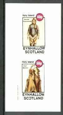 Eynhallow 1982 Costumes #03 (Eskimo Woman & Mandan Indian Chief) imperf set of 2 values unmounted mint
