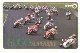 Telephone Card - Japan 50 units phone card showing Field of Riders inscribed Sugo Superbike (card number 410-280)