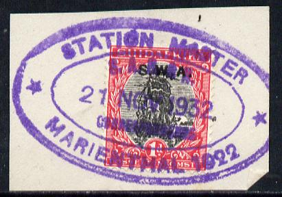 South West Africa - STATION MASTER/ MARIENTHAL 1022 complete strike on 1d adhesive on piece (Putzel R9)