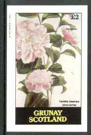 Grunay 1982 Flowers #08 (Camellia sasanqua) imperf deluxe sheet (�2 value) unmounted mint