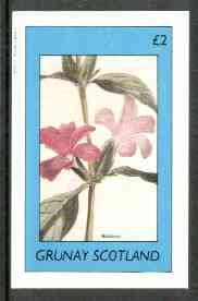 Grunay 1982 Flowers #09 (Bableria) imperf deluxe sheet (�2 value) unmounted mint