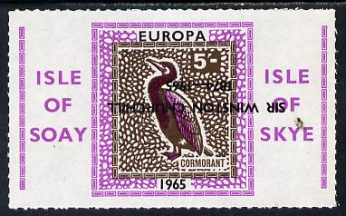 Isle of Soay 1965 Churchill overprint on Europa (Cormorant) 5s value with overprint inverted unmounted mint