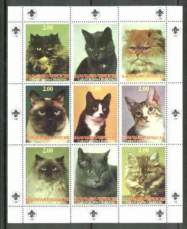 Karachaevo-Cherkesia Republic 1999 Cats perf sheetlet containing 9 values (Scout Logo in margins) unmounted mint