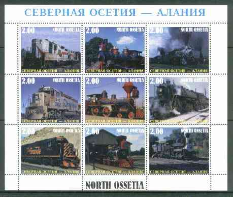 North Ossetia Republic 1999 Railways perf sheetlet containing 9 values unmounted mint
