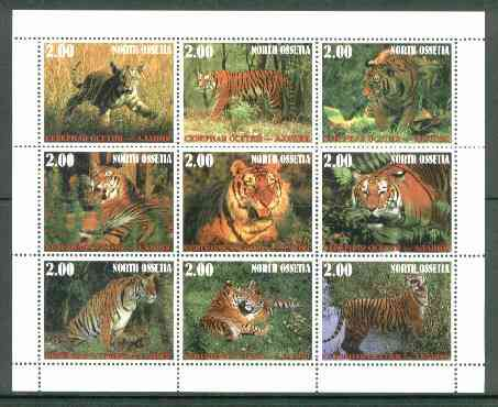North Ossetia Republic 1999 Tigers perf sheetlet containing 9 values unmounted mint, stamps on cats, stamps on tigers