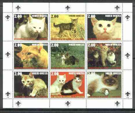 North Ossetia Republic 1999 Cats perf sheetlet containing 9 values (with Scout Logo in margins) unmounted mint