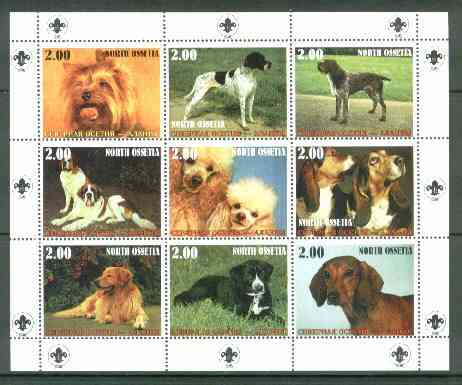 North Ossetia Republic 1999 Dogs perf sheetlet containing 9 values (with Scout Logo in margins) unmounted mint