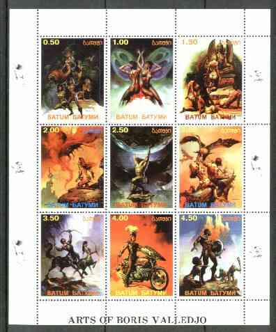 Batum 1999 Fantasy Art of Boris Valledjo sheetlet containing 9 values unmounted mint, stamps on arts, stamps on motorbikes, stamps on mythology, stamps on fantasy, stamps on nudes