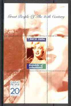 Somaliland 1999 Great People of the 20th Century - Marilyn Monroe perf souvenir sheet containing 7,500 sl value unmounted mint