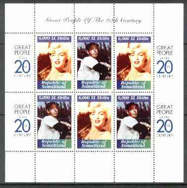 Somaliland 1999 Great People of the 20th Century - Marilyn Monroe & Joe Di Maggio perf sheetlet containing 6 x 6,000 sl values unmounted mint