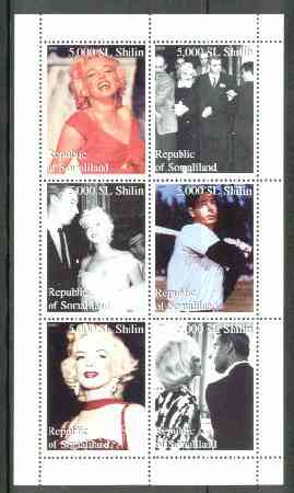 Somaliland 1999 Marilyn Monroe & Joe Di Maggio perf sheetlet containing set of 6 values unmounted mint