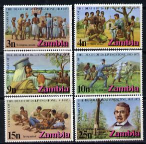 Zambia 1973 Death Centenary of Dr Livingstone set of 6, unmounted mint SG 190-5