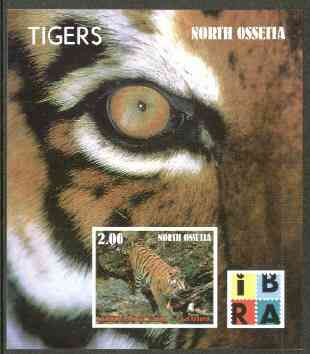 North Ossetia Republic 1999 Tigers imperf souvenir sheet (with IBRA Logo) unmounted mint