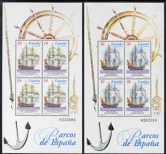 Spain 1995 Paintings of Ships set of 2 perf m/sheets unmounted mint SG MS 3321