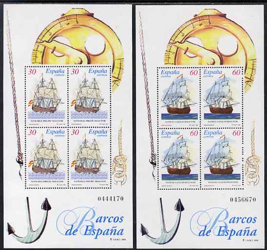 Spain 1996 18th-Century Ships set of 2 perf m/sheets unmounted mint SG MS 3371