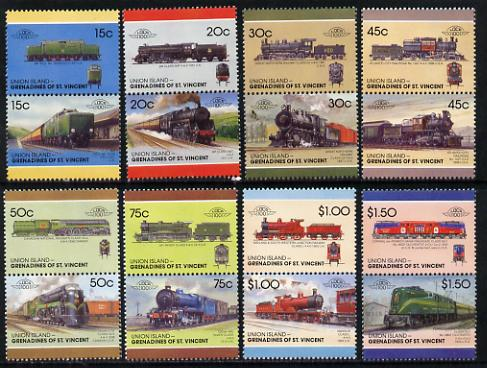 St Vincent - Union Island 1987 Locomotives #7 (Leaders of the World) set of 16 unmounted mint