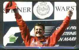 Telephone Card - Michael Schumacher �10 phone card (showing MS on Winners Rostrum)