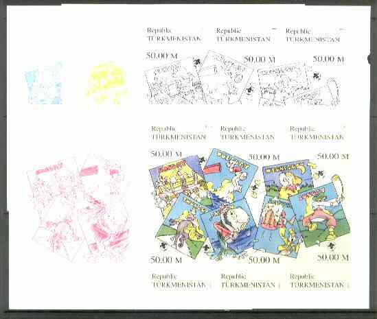 Turkmenistan 1999 Scout Days (Boxing, Golf, Diving, etc) sheetlet containing 6 values, the set of 5 imperf progressive proofs comprising the 4 individual colours, plus all 4-colour composite, stamps on golf    sport    scouts     boxing    diving