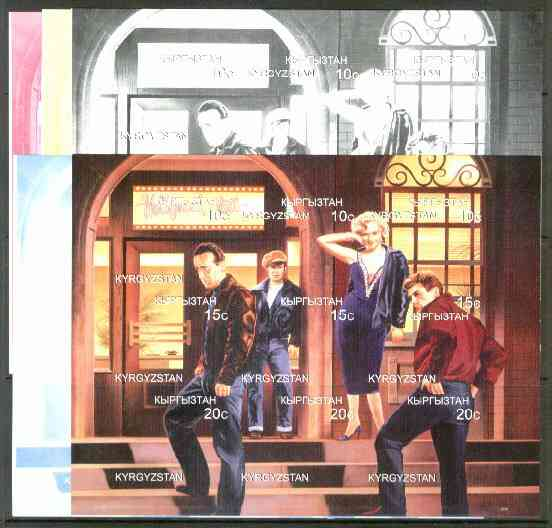 Kyrgyzstan 1999 Hollywood Station (Marilyn, Brando, James Dean & H Bogart) sheetlet containing 9 values, the set of 5 imperf progressive proofs comprising the 4 individual colours, plus all 4-colour composite