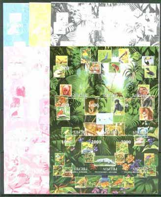 Abkhazia 1999 Wildlife composite sheetlet containing 9 values, the set of 5 imperf progressive proofs comprising the 4 individual colours, plus all 4-colour composite