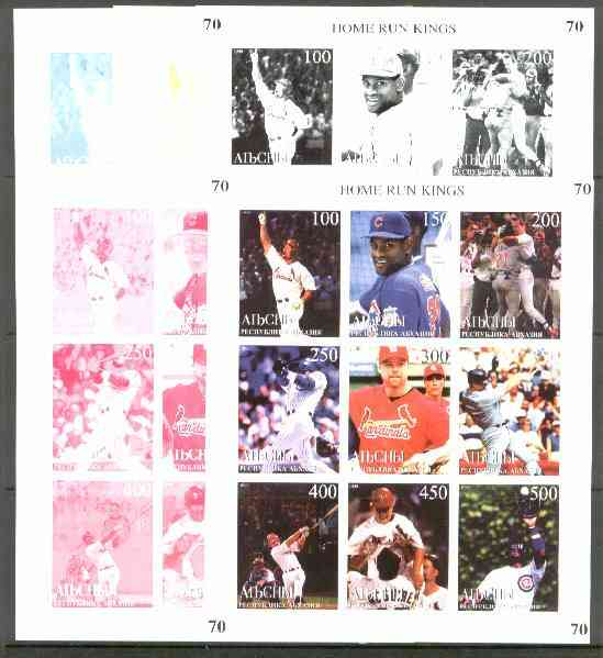 Abkhazia 1999 Baseball (Home Run Kings) sheetlet containing 9 values, the set of 5 imperf progressive proofs comprising the 4 individual colours, plus all 4-colour composite unmounted mint