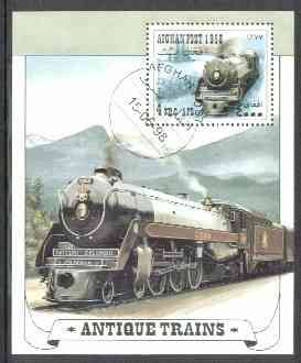 Afghanistan 1998 Old Trains (Br Columbia Steam Loco) perf m/sheet fine cds used