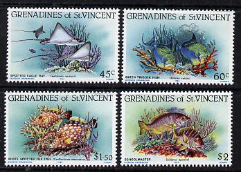 St Vincent - Grenadines 1984 Reef Fishes set of 4 unmounted mint, SG 287-90, stamps on fish, stamps on marine life