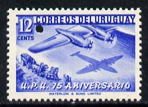 Uruguay 1949 75th Anniversary of Universal Postal Union 12c blue (Boeing Aeroplane over Mailcoach) with tiny security puncture (Waterlow & Sons Specimen) unmounted mint