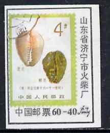 Match Box Label - Chinese label depicting the 1981 Money Cowrie 4f stamp