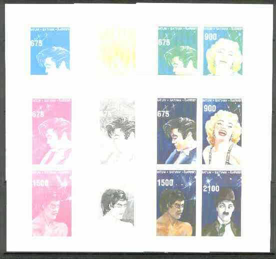 Batum 1995 Film Stars (Elvis, Marilyn Monroe, C Chaplin & Bruce Lee) the set of 6 imperf progressive proofs comprising the 4 individual colours, plus 2 and all 4-colour composites unmounted mint