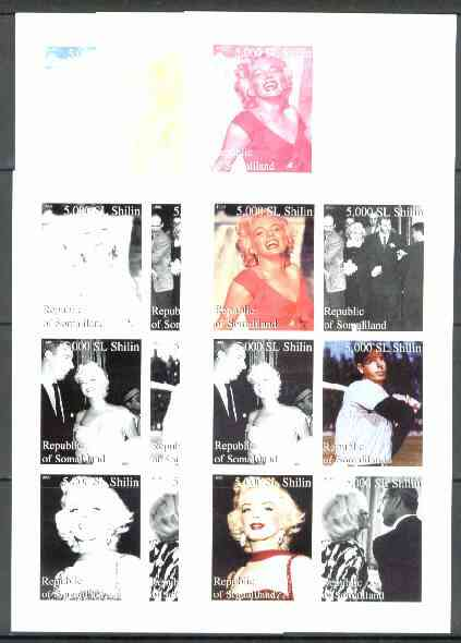 Somaliland 1999 Marilyn Monroe & Joe Di Maggio sheetlet containing set of 6 values, the set of 5 imperf progressive proofs comprising the 4 individual colours, plus all 4-colour composites